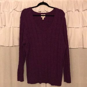St Johns Bay Purple V-neck Sweater Sz 2X